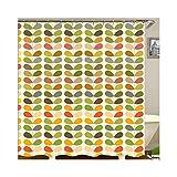 Gnzoe Polyester Duschvorhang Blatt Muster Design Badewanne Vorhang für Badewanne Badezimmer Bunt 180x200CM