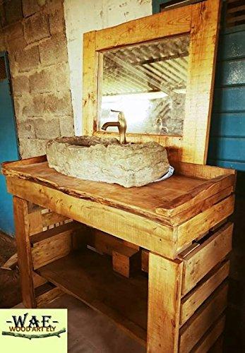 Wood art ely mobile bagno e specchiera in legno massello,dimensioni 125x50x80 h attenzione lavabo e miscelatore non incluso !!!!!