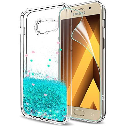 LeYi Hülle Galaxy A3 2017 Glitzer Handyhülle mit HD Folie Schutzfolie,Cover TPU Bumper Silikon Flüssigkeit Treibsand Clear Schutzhülle für Case Samsung Galaxies A3 2017 Handy Hüllen ZX Turquoise