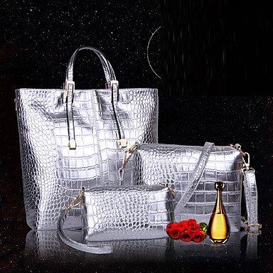 La donna pu / Brevetto canna in pelle borsa a tracolla / Tote - oro / argento / nero,argento Black