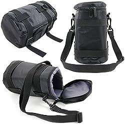 Duragadget - Housse/Etui de Protection pour Objectif d'Appareil Photo Reflex Nikon AF-S NIKKOR 14-24mm, 16-35mm, 18-35mm, 20mm et 24-120mm - Nylon Noir/Gris -