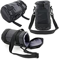 Black Protective Water-Resistant Speaker Carry Bag Compatible with the Canon TS-E 50mm f/2.8L Macro & TS-E 90mm f/2.8L Macro - by DURAGADGET