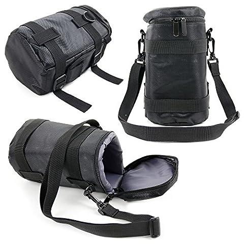 DURAGADGET - Etui en Nylon de protection pour objectif d'appareil photo reflex Canon EF 70-300mm, EF 8-15mm, EF-S 10-22mm, EF-S 15-85mm, EF-S 17-55mm et EF-S 17-85mm – Noir / Gris