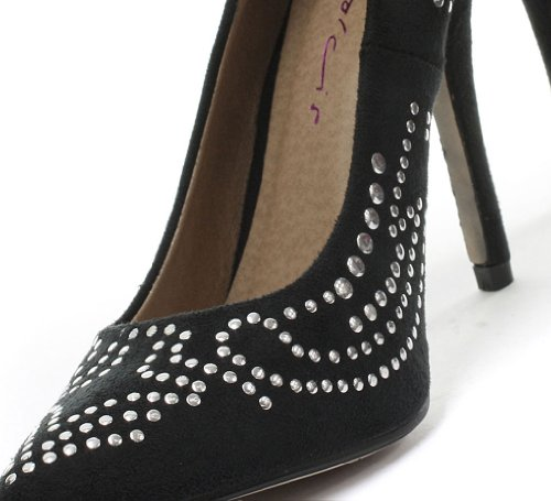Dolcis Khloe Damen High Heel Pumps mit Nieten Black
