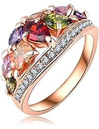 7347f4f687ca AnaZoz Joyería de Moda Multi Color Anillos de Dedo Genuino SWA Elements  Cristal Austria 18K Chapado