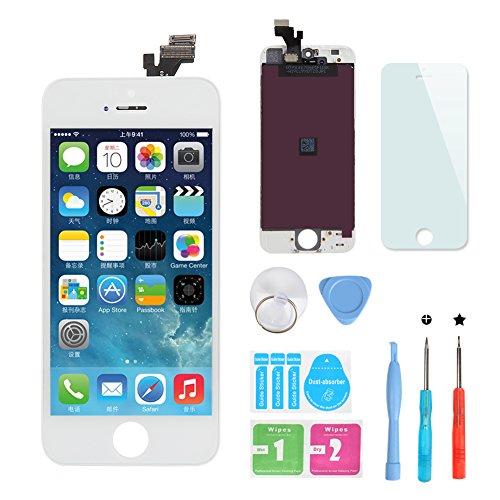 HSX_Z Remplacement Retina écran Tactile Noir Ecran LCD Vitre Tactile pour iPhone 5 avec Kit de Réparation et La Protection d'écran Pour iPhone 5-Blanc