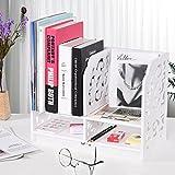 Exblue DIY Desktop Bücherregal, Büro Schreibtisch Organizer, Holz Kunststoff Bücherregal Display, Damen Kosmetik Organizer, für Zuhause, Küche, Büro, Schlafzimmer, Bad, Weiß