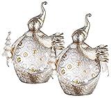 2er Set Tisch Lampen Weihnachten Metall Weiß Gold Dekor Steine Winter Schneemann
