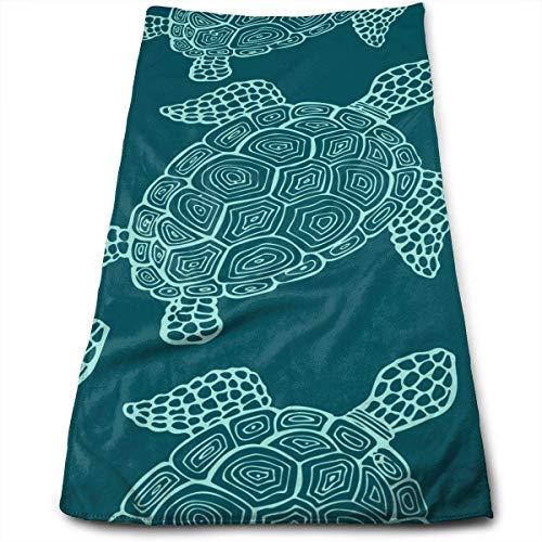 ewtretr Asciugamani Viso-Mani, Green Turtle Multipurpose Soft Polyester Lightweight Hand Towel for Bath, Pool, Beach, Travel Towel,Bath Sheet 11.8 x 27.5 inch