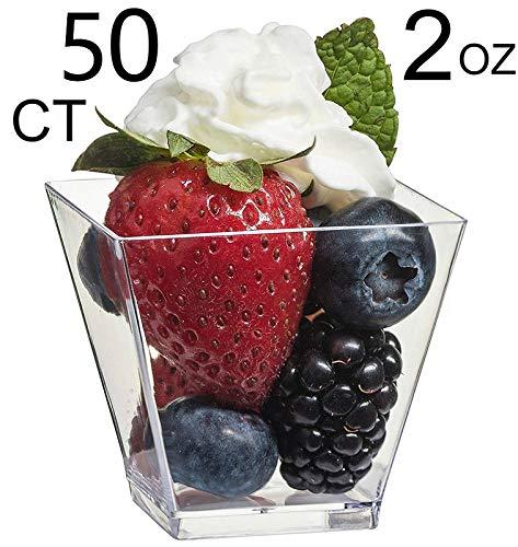 50 Stück Elegante quadratische Dessertbecher - Mini-Würfel, 57 ml, durchsichtige Probe Schnapsgläser Einweg-Dessert-Schalen aus Kunststoff
