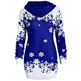 YWLINK Damen Mode Weihnachten Schneeflocke Bedruckte Kapuzensweatshirt Bluse Pulli Pullover Rollkragen Frauen Oberteile(XL,Blau)