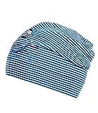EveryHead Fiebig Jerseybeanie Mütze Jerseymütze Kindermütze Übergangsmütze Zweifarbig gestreift mit Aufdruck für Jungen (FI-87386-S16-JU1-44-53) in Blau, Größe 53 inkl Hutfibel
