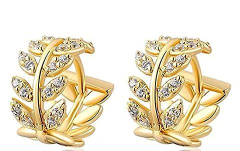 Daesar Ohrringe Vergoldet Damen Runde Ohrring Mit Zirkonia Ohrring Blume Ohrringe Vergoldet 0.8X1.4CM