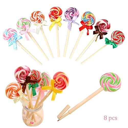 Hapyshop 8 teile Süssigkeiten Farben Lollipop Stifte Druckkugelschreiber, Büro Schule Liefert schreibwaren,Spielzeug Geschenk für Mädchen Geburtstag Kinder Party Geschenk (Geschenke Süßigkeiten Kinder Für)