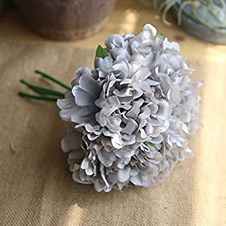 RXYY 5PCS Silk Peonies Artificial Flower for Wedding Decor Peonies Flower Bouquet Home Party Decoration Fake Flower, Dark Gray