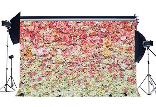 JoneAJ 7X5FT Brautduschehintergrund Frische Rose Blumen Kulissen für Fotografie Mädchen Hochzeit Vinyl Foto Hintergrund Romantische Innenraum Tapete Liebhaber Studio Requisiten CA1043