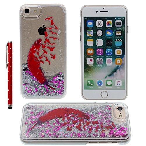iPhone 7 Liquide Eau Coque, Transparente Dur Étui Protection avec Écoulement Étoiles / Sable Désign pour Apple iPhone 7 4.7 inch, Plumage rouge Motif Case Avec 1 stylet color-8