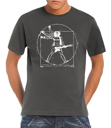 Touchlines - T-Shirt Da Vinci Rock Guitar, T-shirt da uomo, Grigio (Darkgrey), XL