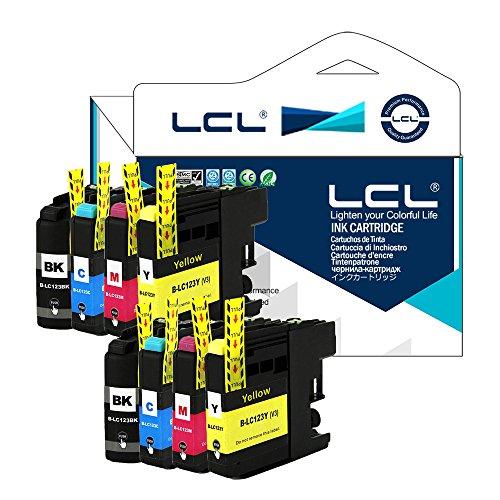 LCL(TM) LC121 LC123 LC123BK LC123C LC123M LC123Y Lot de 8(2 Noir /2 Cyan/2 Magenta/2 Jaune)Cartouches d'encre Compatible pour Brother MFC-J4410DW J4510DW J4610DW J4710DW J470DW J6920DW J870DW J245 J650DW J6720DW J6520DW DCP-J4110DW J132W J152W J552DW J752DW J172W