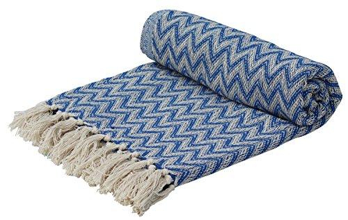 Souvnear, coperta tessuta a mano southwest, 100% cotone, disegno a spina di pesce, arancione e bianco, reversibile con nappe, per divano, decorazione per la casa blue..