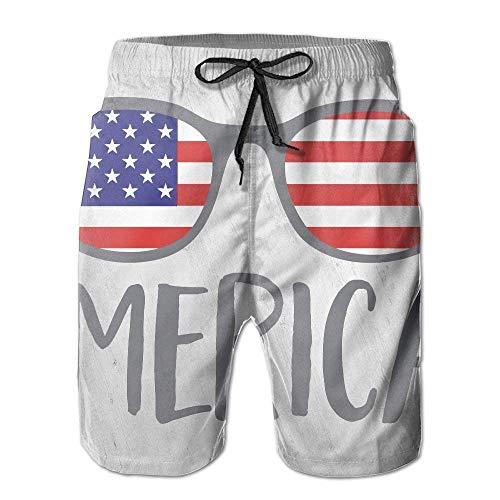 Merica Sonnenbrillen Quick Dry elastische Spitze Boardshorts Strand Shorts Hosen Badehose Funny Mens Badeanzug mit Taschen XL