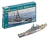 Revell Modellbausatz Schiff 1:1200 - Battleship U.S.S. Missouri(WWII) im Maßstab 1:1200, Level 4, originalgetreue Nachbildung mit vielen Details, 05128