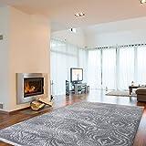 mynes Home Teppich Grau Vintage Ornament Design Versace Wohnzimmer Velour mit Öko-Tex (160 x 230 cm)