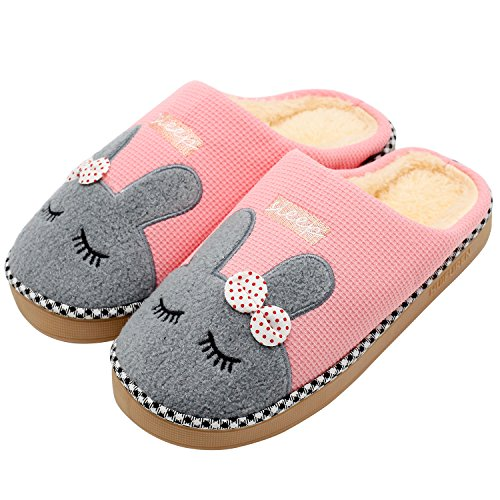 Hausschuhe, Baumwolle Pantoffeln, Nette Karikatur Rabbit Hausschuhe/Slippers, CIDBEST® Winter Wärme Plüsch-Hausschuhe, Indoor floor Anti-Rutsch-Pantoffeln 40/41(Suitable for feet 39-40) Pink