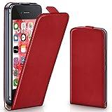 moex iPhone 4S | Hülle Rot 360° Klapp-Hülle Etui thin Handytasche Dünn Handyhülle für iPhone 4/4S Case Flip Cover Schutzhülle Kunst-Leder Tasche
