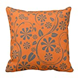 Bags-Online Flower Leaf Printed Dark Orange and Grey Floral Pattern Throw Pillow Case Covers Flower Design Home Sofa Decorative Square