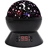 MOKOQI Modern Rotating Moon Sky Projection LED Night Lights Toys Table Lamps With Timer Shut Off & Color Changing For Baby Girls Boys Bedroom Decorative Lights Gift Baby Nursery Lights (Black)