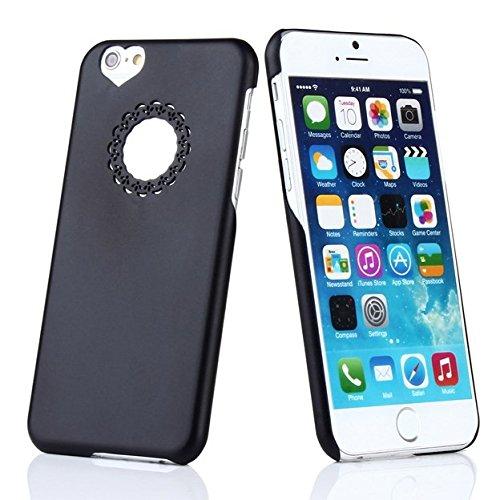 iPhone 6 6S Coeur Coque de NICA, Ultra-Fine Housse Rigide Protection Cover Slim Premium Etui Résistante Hardcase, Mince Telephone Portable Case Bumper pour Apple iPhone 6S 6 Smartphone - Rose Noir