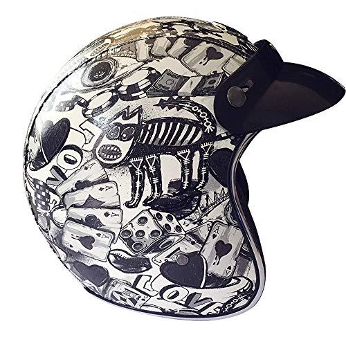 Retro Motorrad Harley Helm, 3/4 offenes Gesicht Vintage Lederhalbhelm DOT genehmigt Sommer Helm mit Brille und abnehmbare Kappe Traufe (S, M, L, XL, XXL, XXXL),L -