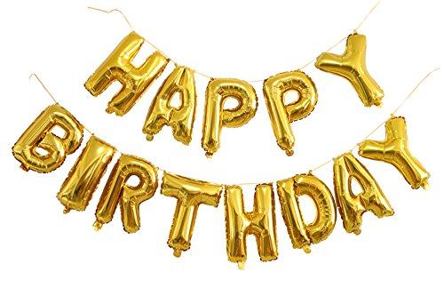 """Langxun 14 """"13 Alphabet Buchstaben Ballons"""" HAPPY BIRTHDAY """"Gold Folie Digital Air-gefüllte Ballons für Geburtstag / Party"""