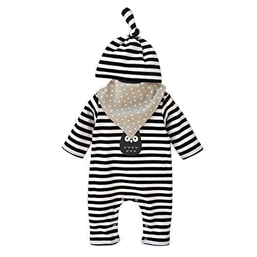 Amcool Niedlich Baby Born Bekleidung Streifen Romper Overall + Hut + Speichel Handtuch Set 0-12 Monate (0-4 Monate, Schwarz)