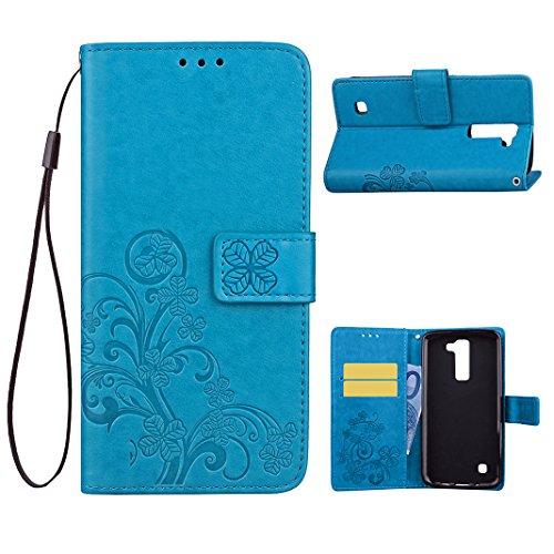 LG K10 Custodia Pelle Cover Case HuaForCity® Portafogli Custodia in Pelle PU Copertina con Slot per schede Magnetica Flip Chiusura Stile del Libro Supporto Funzione Bumper Caso for iphone LG K10 Custo Blu