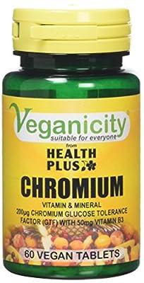 Veganicity Chromium 200µg : Metabolism health : 60 tablets by Health + Plus Ltd