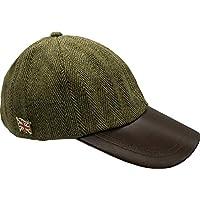 Nicky Adams Countrywear Tweed Baseball Cap Waterproof Sun Wool Hat Leather Peak Green Unisex One Size