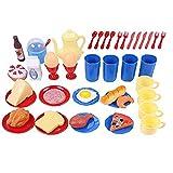 NICE Home Küchenzubehör Geschirr-Set ? 48-teiliges Kindergeschirr-Set mit Geschirr und Utensilien Pretend Lebensmittel-Küchen-Set für Kinder ab 3 Jahren