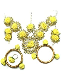 Beadsnfashion Gotta Patti Necklace Set With Mangtikka, Earrings, Ring And Bangle Yellow For Wedding, Haldi And...