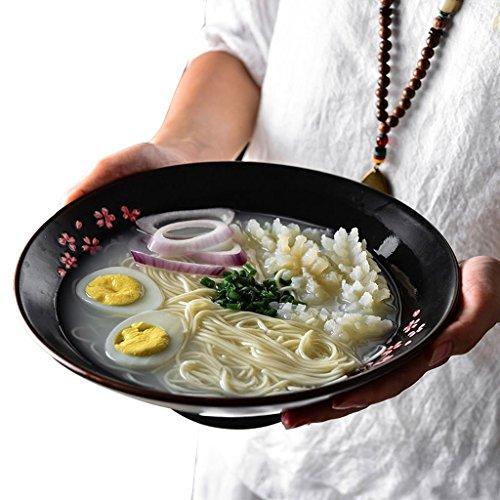 Fleurs Pinellia Couverts à Soupe en Porcelaine Noire Ramen Japonais Bol à Salade de Fruits Bol 10 Pouces