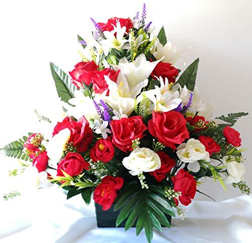 roselynexpress Composition de Fleurs artificielles lesté Totalement Ciment en jardinière, pour cimetière. Réalisé par nos Soins, Fleurs de très Bonne qualité.