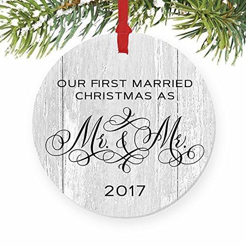 Rutehiy Weihnachtsbaum Dekorationen Gay Ehe Geschenke für das Paar Frisch vermählte First Christmas Hochzeit Mr & Mr 1. Xmas Tree Idee Weihnachten Ornament Crafts Jahrestag Andenken (Frisch Geschenke Vermählte Für)