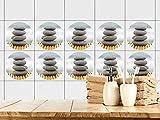 GRAZDesign 770443_57x57_FT Fliesenaufkleber Bad | Fliesensticker Wellness mit Steinen und Bambusmatte | einfach auf die Fliese kleben | rundes Aufkleber-Set für Bad (57x57cm)
