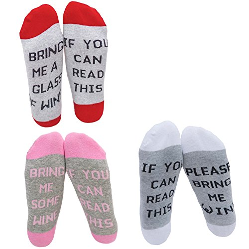 DSUK Unisex Novelty Letter Print If You Can Read This Bring Me A Glass of Wine Calf Sock Winter Warm Cotton Sport Athletic Long Ankle Socks