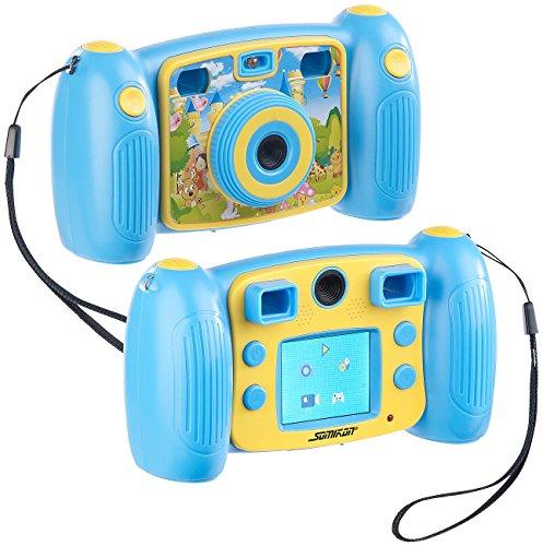 Somikon Fotoapparat: Kinder-Full-HD-Digitalkamera, 2. Objektiv für Selfies & 2 Sucher, blau (Kamera Kinder)