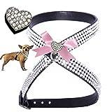 Woof Style XS Herz schwarz - rosa Hunde Strass Brustgeschirr Chihuahua Hundegeschirr Softgeschirr für Hunde