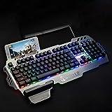 Tellaboull for PK900 Tastiera da Gioco a Membrana Fine-Craft Pannello in Lega di Alluminio con retroilluminazione RGB 104 Tasti Tastiera con Supporto del Telefono