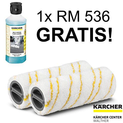 Preisvergleich Produktbild 1 Mikrofaser Walzenset gelb für Kärcher FC 5 & FC 5 Premium inkl. 1 Flasche RM 536 GRATIS!