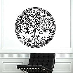 Adhesivos de pared de árbol de vinilo de la etiqueta Mandala Pegatinas Nursery ventana del dormitorio de estar Cocina Decoración del hogar Naturaleza murales Arte Ah184